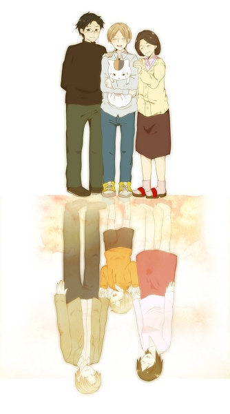 """Natsume Yuujinchou ~~ Natsume's two families :: He suffers from """"Disney syndrome."""" Hence he is an orphan and the adults at the top are relatives who took him in when no one else wanted him anymore."""