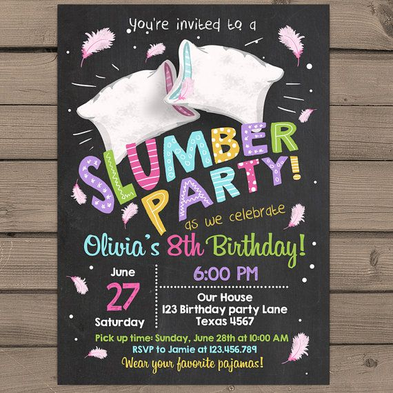 Slumber Party Invitation Pajamas Birthday by Anietillustration