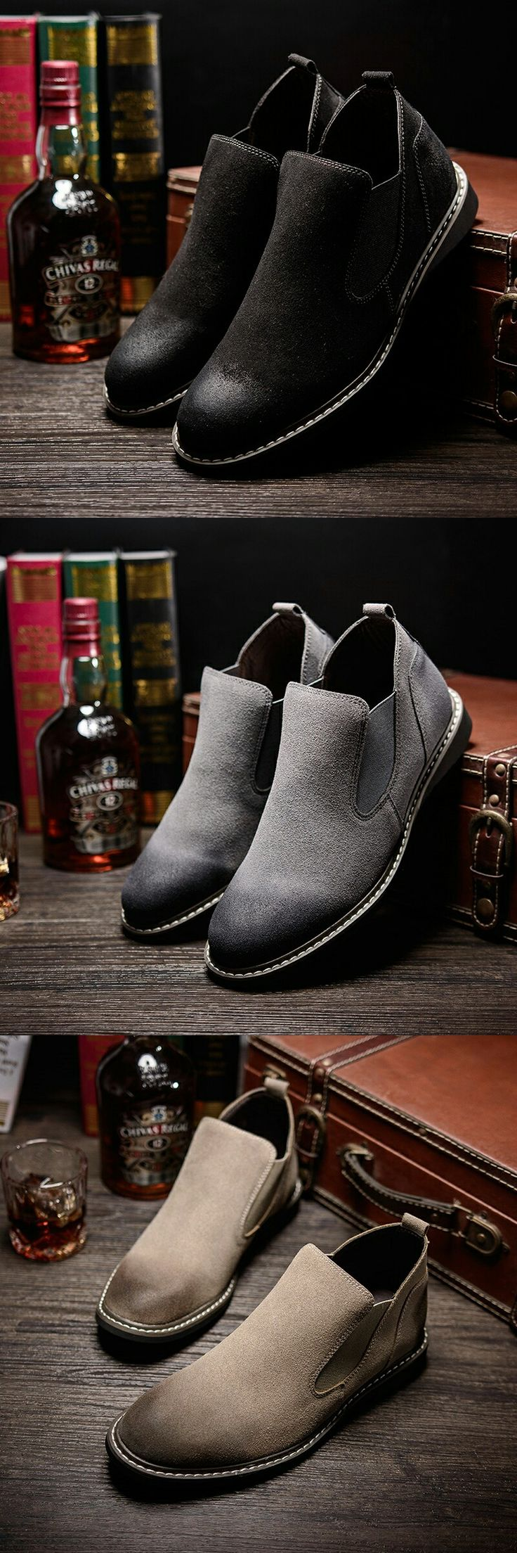 New Arrival 2017 Men Suede Shoes High Quality Winter Shoes Chelsea Boots Style Mens Casual Shoes Brand Man Slip On