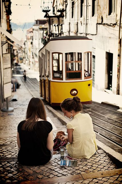 Lisbon, Lisboa, Tram, Electrico, Portugal. This is us @Ellen Robinson!