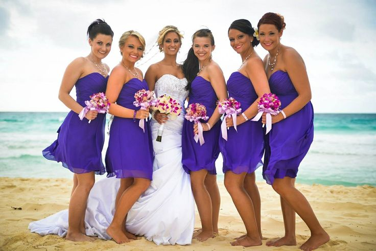 Purple Beach Bridesmaids Bill Levkoff Chiffon Purple