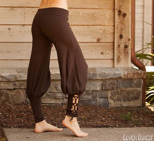 Lace Up Yoga Harem Pant with Cut Out lace up applique by Elven Forest Creations