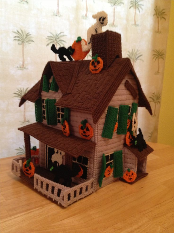 Plastic canvas haunted house for halloween for Pinterest haunted house