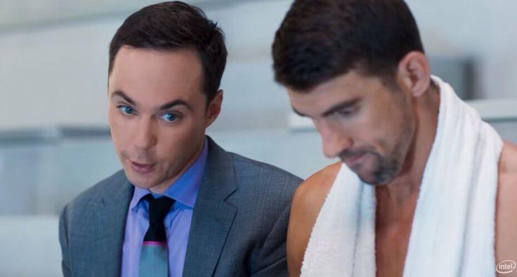 Sportlase brändi kasutamine reklaamis. Jim Parsons (left) and Michael Phelps in Intel's new commercial.