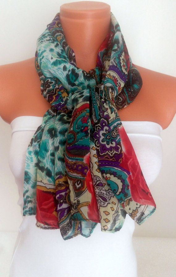 Rose Printed Scarf Silk Chiffon Scarf For Her by SuHandmadeStore