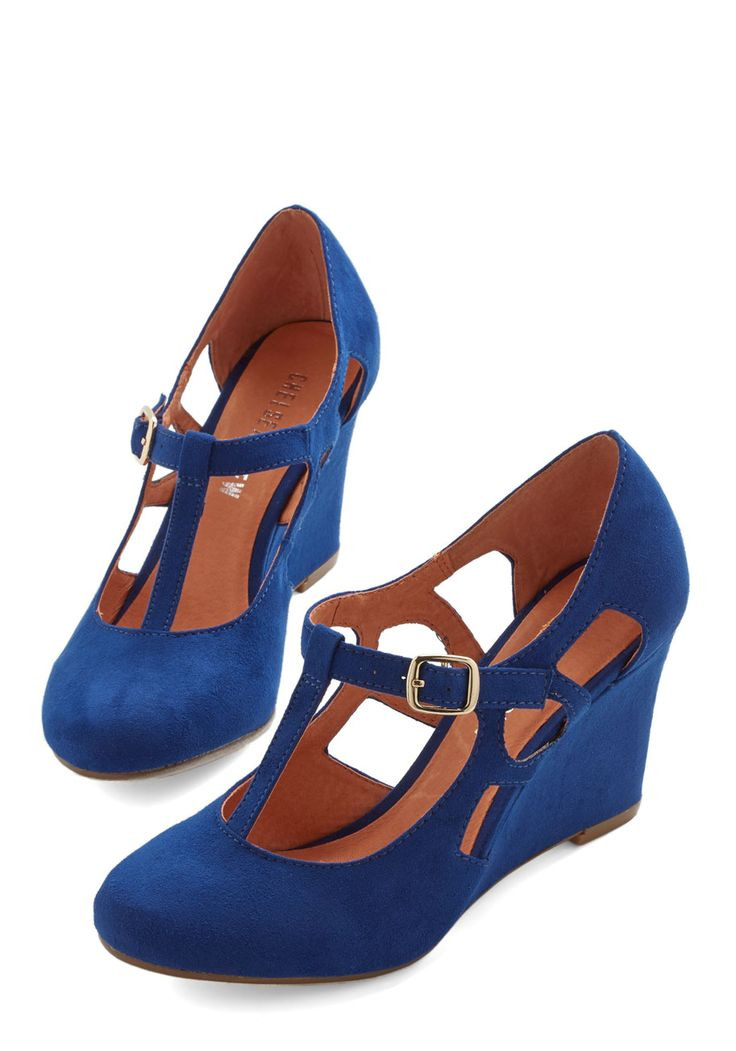 Fresh Blueberry Fields Wedge, #ModCloth Love the rich blue as well as the cut outs on the sides of the shoes.