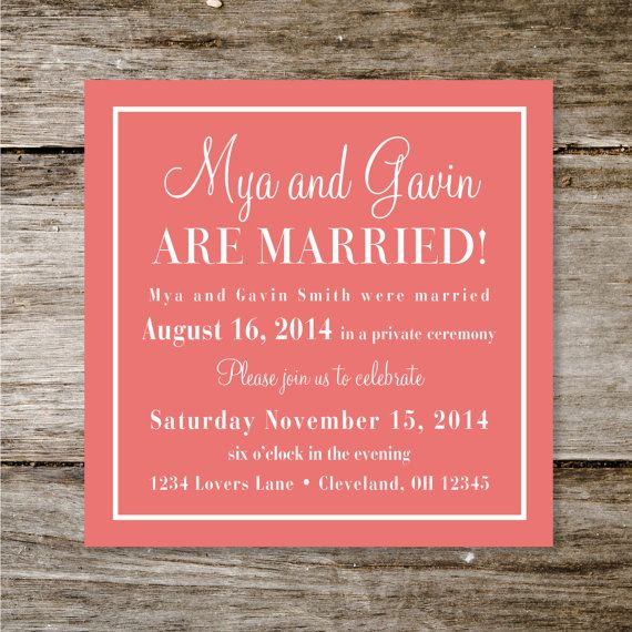 Small Ceremony Big Reception Invitations: Check Yes Or No Wedding Announcement/Reception Invite