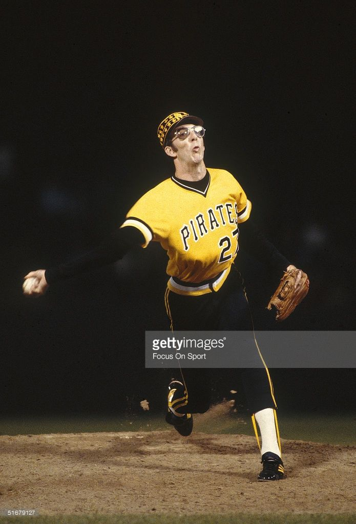 Pirates' Kent Tukulve #27 pitches against the Baltimore Orioles during the 1979 World Series at Memorial Stadium in Baltimore, Maryland.