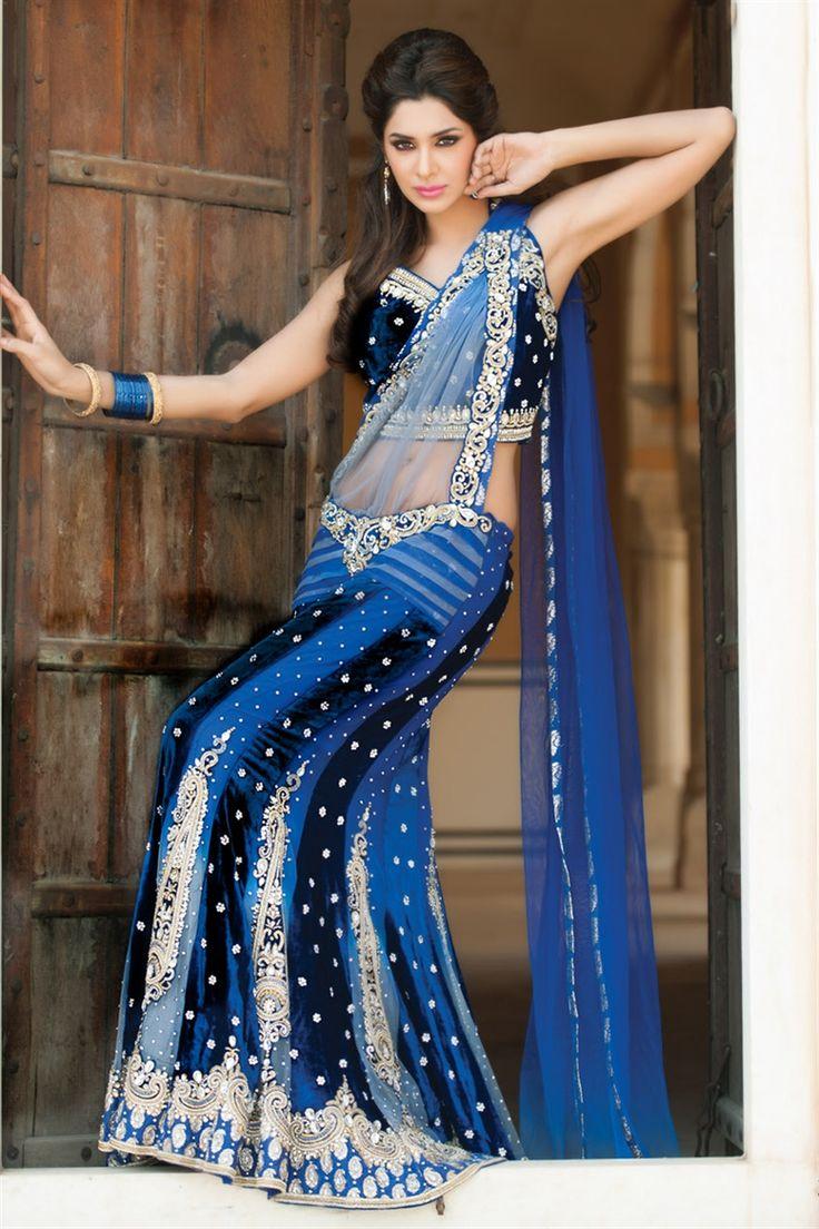 Dark blue lehenga lehenga saree choli pinterest for Trendy indian wedding dresses