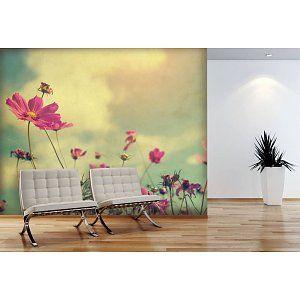 Fotobehang Cosmos Flower Vintage op maat 4.10 x 2.30