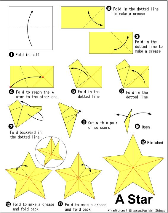 Origami Star – Start with any size square of midweight paper