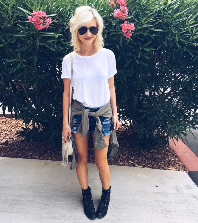 Casual summer outfit with combat boots, denim shorts and militar shirt around the waist | The Nomis Niche