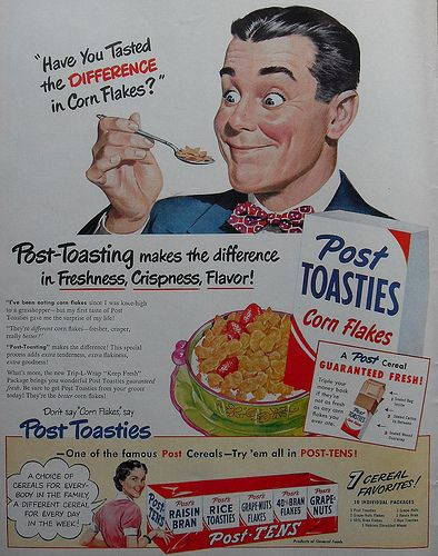 1940s POST TOASTIES vintage advertisement CEREAL BOX illustration