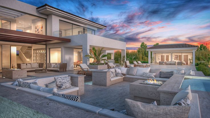 Outdoor sunken chill out area with fireplace overviewing the infinity pool ... Designed and developed By Nok