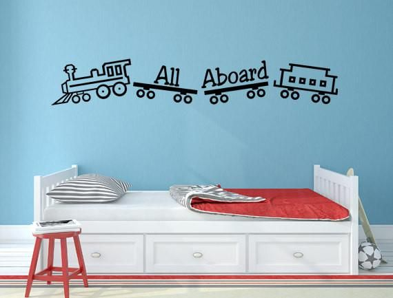 All Aboard Train Wall Decal for Boyu0027s Bedroom - Inspirational Wall Signs & 1340 best Vinyl Wall Decals images on Pinterest | Vinyl wall decals ...