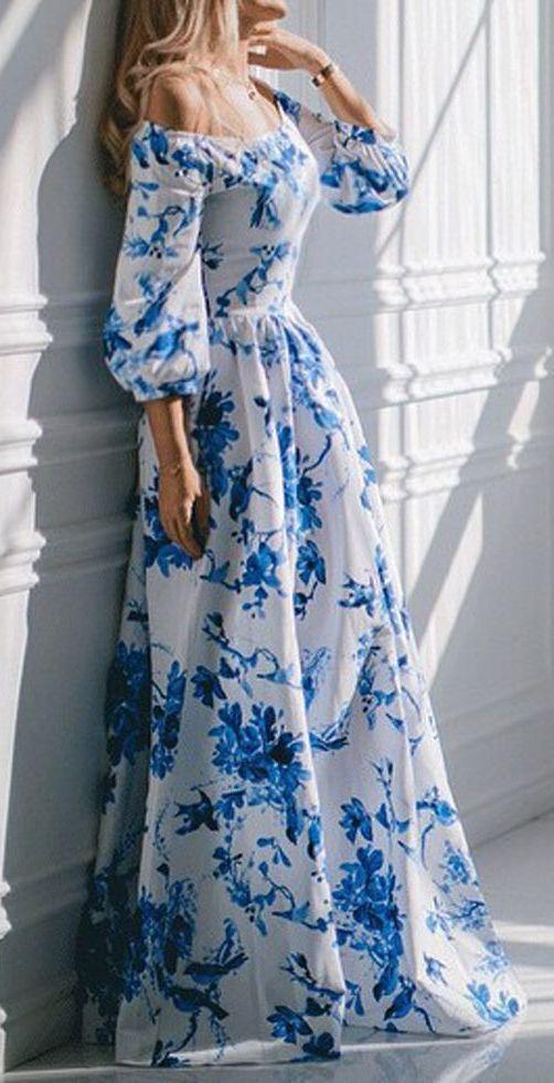 338e66f5290e Blue   White Off Shoulder Bird And Floral Print Maxi Empire Dress ...