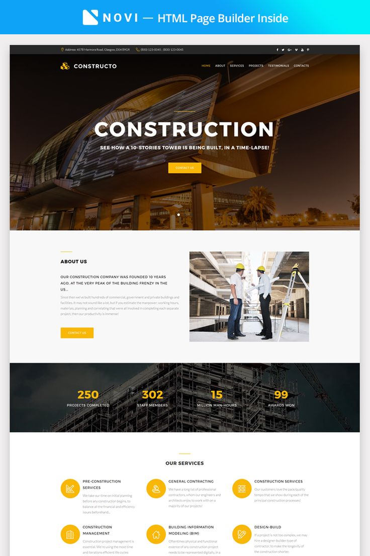 Construction Company Landing Page HTML Template