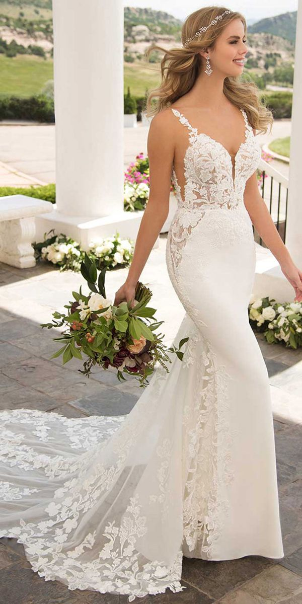Magbridal Winsome Tulle & Four Way Spandex Spaghetti Straps Neckline Mermaid Wedding Dresses With Beaded Lace Appliques