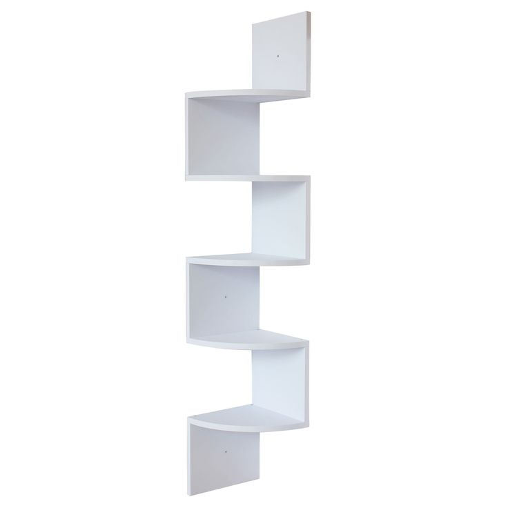 This decorative zig-zag corner wall shelf with five shelves makes space utilization possible from any corner. It's both unique and stylish. This unit is designed to hang in a corner and is perfect for displaying books or a variety of small items.