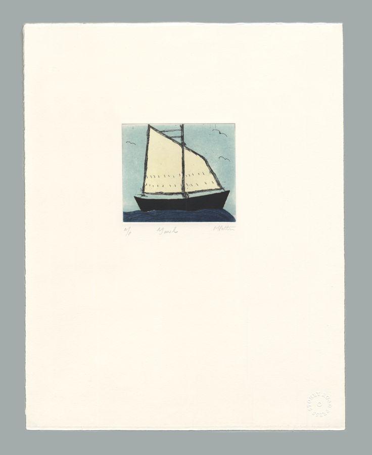 'Yawl' by Michael Patten, 2016 Intaglio print on Zerkall 350 gsm paper. Sheet size 33 x 42.5cm