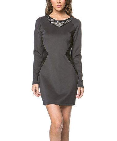 Gray & Black Color Block Long-Sleeve Dress by MINTYGOGO #zulily #zulilyfinds