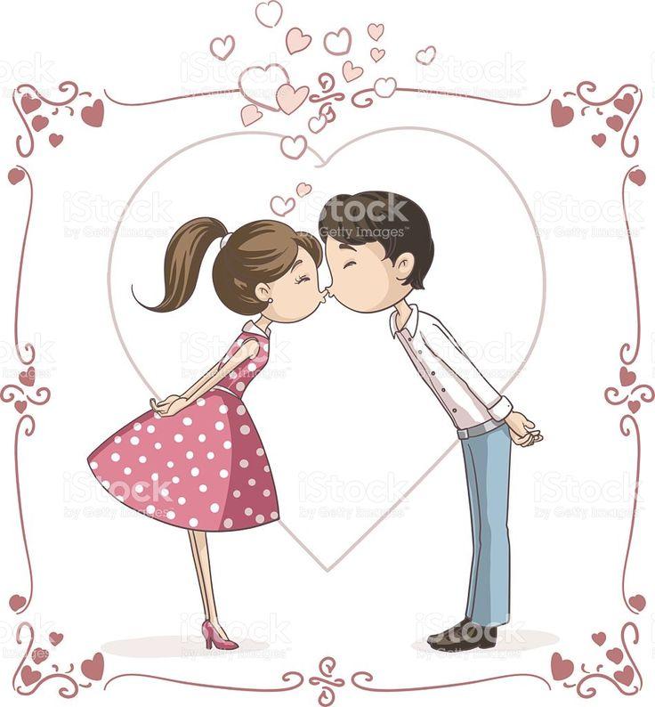 Couple Kissing Vector Cartoon royalty-free stock vector art