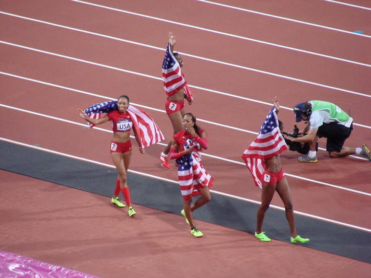 Saturday 11th August. Olympic Stadium. The USA Women win gold in the 4 x 400m.  I have a 4 x 400m race tomorrow and I am so nervous! I hope I can get a win like these ladies!