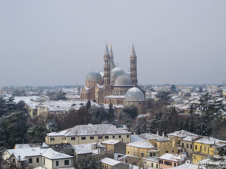 Suggestivo il panorama di Padova con al centro la Basilica del Santo con la neve.