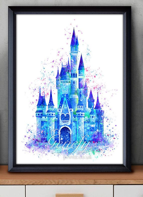 Disney Cinderella Castle Watercolor Poster Print by GenefyPrints