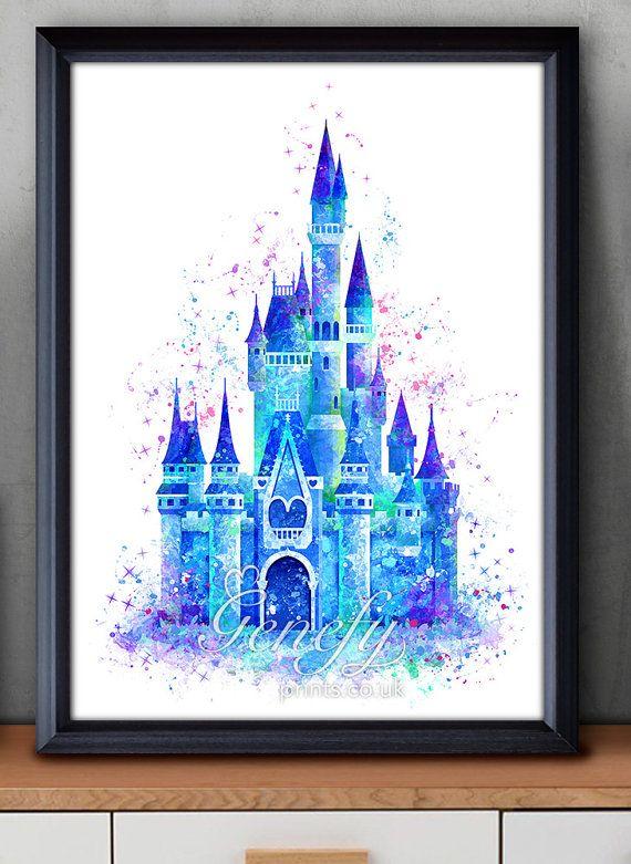 Château de Cendrillon de Disney aquarelle Poster par GenefyPrints