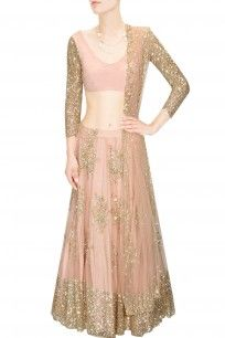 Peach and gold floral sequins embroidered lehenga set