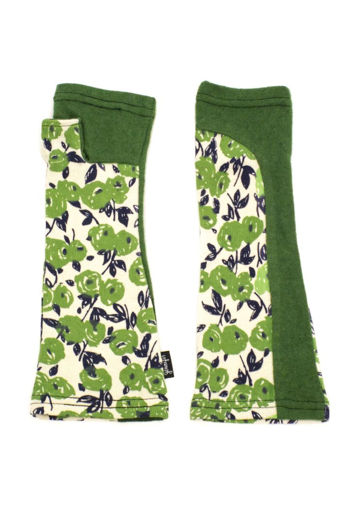 Green and white floral arm warmer gloves made from upcycled wool knits by Jennifer Fukushima.