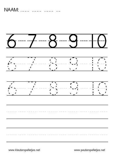 Cijfers leren schrijven, 6, 7, 8, 9 en 10 cijferwerkblad.