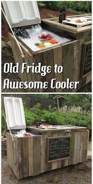 Old Refrigerator Made Into A Cooler With Pallets   ---   #pallets   #palletproject