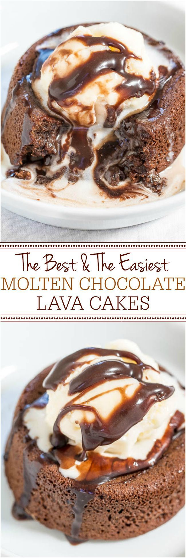 The Best and The Easiest Molten Chocolate Lava Cakes - One bowl, no mixer, so easy! The warm, gooey, fudgy chocolate center is heavenly! Better than any restaurant versions! Best chocolate cake EVER!!