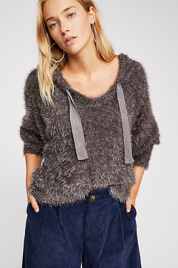 2ded60dc4553 Light As A Feather Hoodie - Extra Fuzzy Gray Pullover Hoodie. Find this Pin  and more on Sweaters   Jackets by Free People.