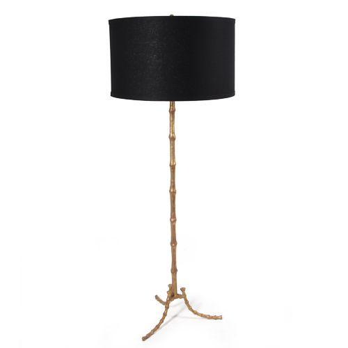 Bliss studio la 8542 blk gol cane bamboo floor lamp dia 18 h