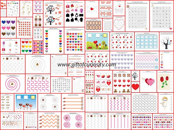 Free Valentine Printable Pack: 100+ pages of Valentine worksheets for kids ages 2-7 covering a wide range of skills.  This is an awesome set of free Valentine printables all in one huge pack! || Gift of Curiosity