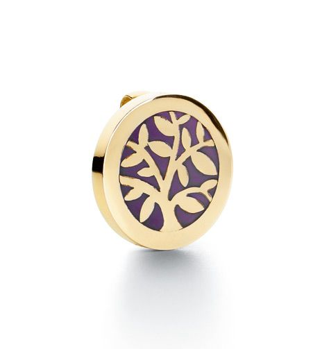 Ole Lynggaard Copenhagen Sweet Spot charm Tree in 18ct yellow gold with purple enamel - Kennedy Jewellers