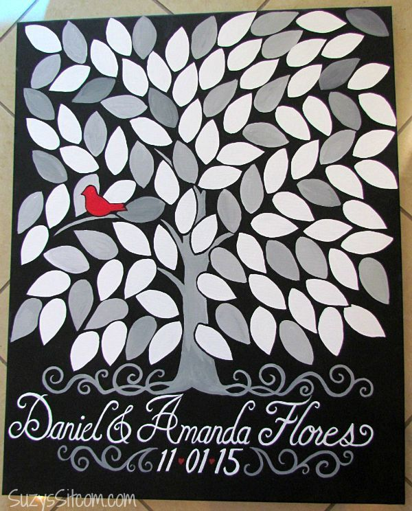 DIY Tree of Life wedding guestbook on canvas by Suzy's Sitcom