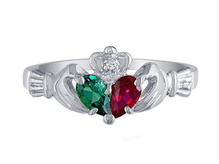 Personalized White Gold Diamond Birthstone Claddagh Ring. This would make an awesome anniversary ring! *hint hint*
