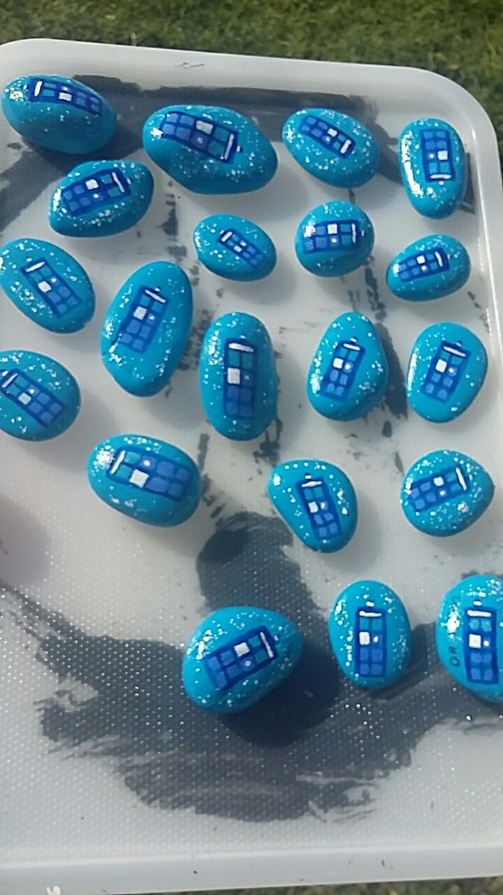 Dr Who Tardis rocks.  Design by Aura Mckay & Jessica Holmstrom Clark