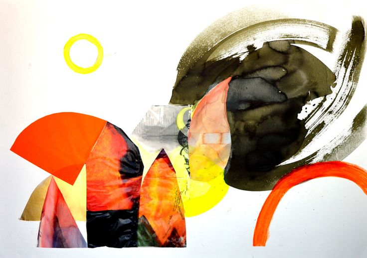 6.Bez tytułu I, Martyna Bocheńska, abstrakcyjny kolaż inspirowany pejzażem, 100 x 70 cm, oprawiony w białe ramy