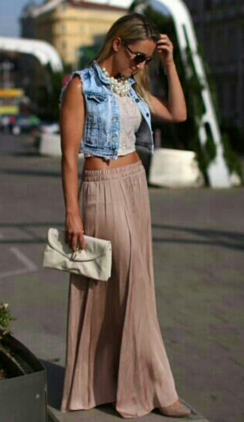 Maxi skirt and denim ♡