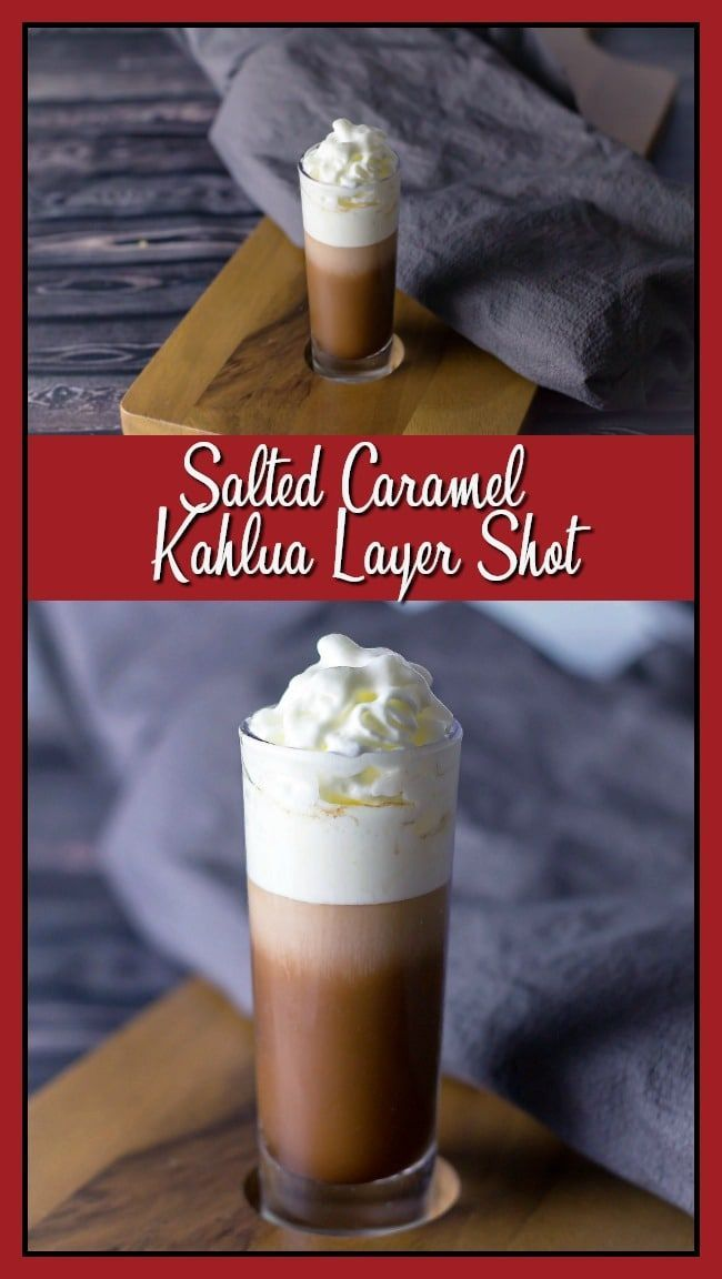 Salted Caramel Kahlua Layer Shot combines hot chocolate, salted caramel Kahlua, Rumchata, and whipped cream into this sinfully delicious cocktail. You will want to have a few of these babies to keep you warm during these chilly winter nights. #cocktail #newyearseve #gameday via @taketwotapas