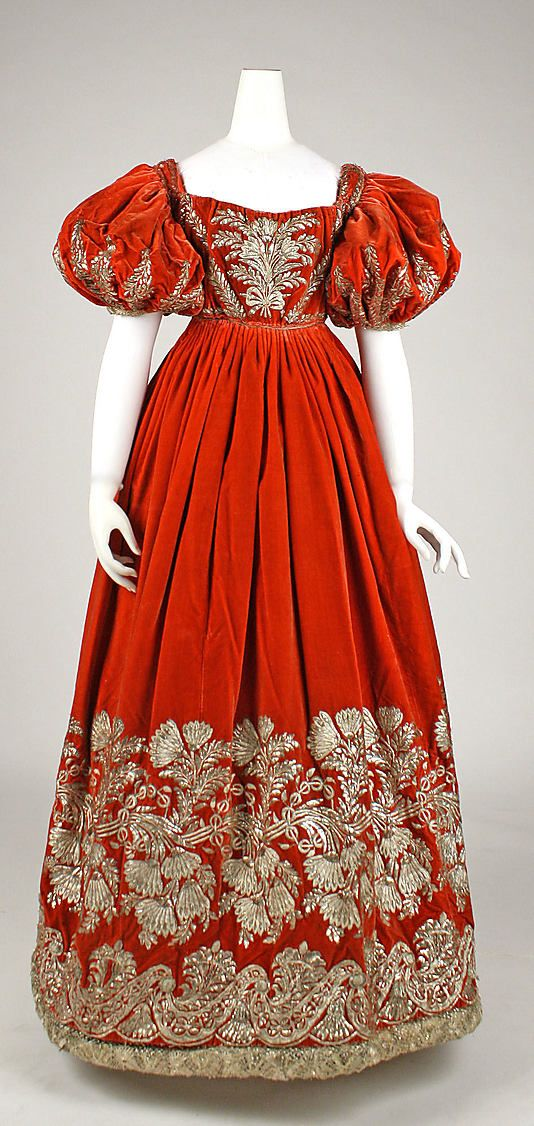 Silk velvet court dress with metallic embroidery ca. 1828, probably German - in the Metropolitan Museum of Art costume collections.