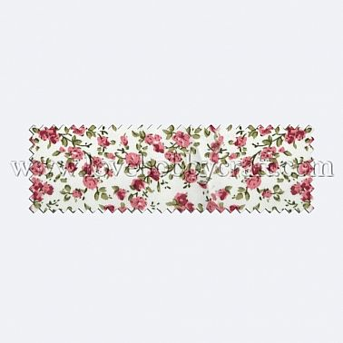 vintage printed flower woven fabric with leaves light coral polyester