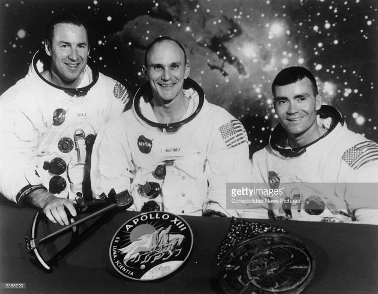1970: The original proposed crew of Apollo XIII, Navy Captain James A Lovell Jnr, the Apollo 13 Commander, Thomas Ken Mattingly the Command Module Pilot who was replaced 3 days before lift off by Jack L Swigert Jnr, and Fred W Haise Jnr, the Lunar Module pilot.