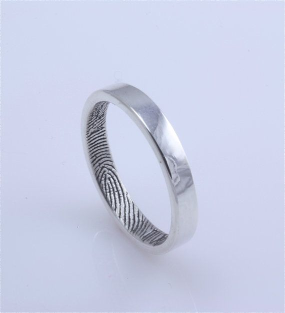 Narrow 3mm Fingerprint Wedding Ring With Wrapped Print On The Inside