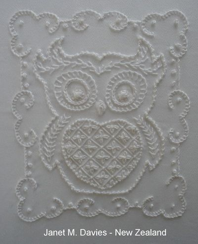 Beautiful white work embroidered owl
